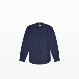Linen Band Collar Shirt in Indigo