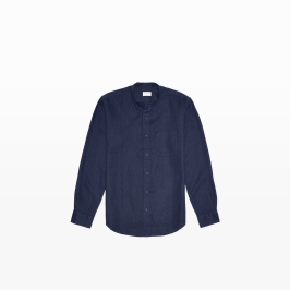 Linen Band Collar Shirt in Indigo